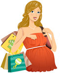 219089-Royalty-Free-RF-Clipart-Illustration-Of-A-Pregnant-Dirty-Blond-Woman-In-A-Shopping-In-An-Orange-Dress