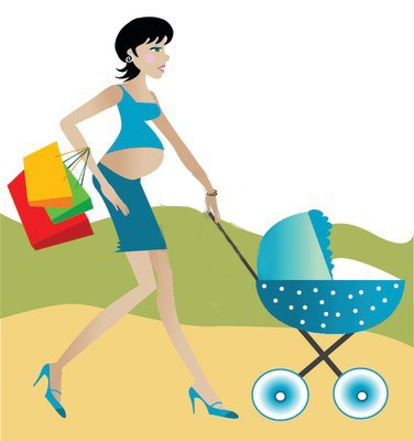 727703-pregnant-woman-with-shopping-bags-pushing-a-carriage